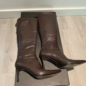 Authentic Gucci leather brown boots 7.5
